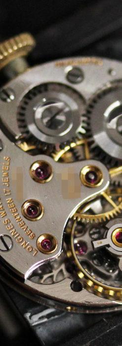 黒文字盤・四角形のロンジン女性用アンティーク腕時計 【1941年製】-W1487-16