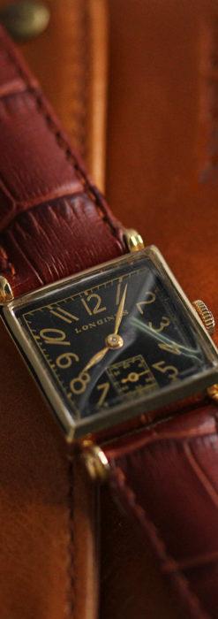 黒文字盤・四角形のロンジン女性用アンティーク腕時計 【1941年製】-W1487-2