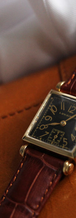 黒文字盤・四角形のロンジン女性用アンティーク腕時計 【1941年製】-W1487-3