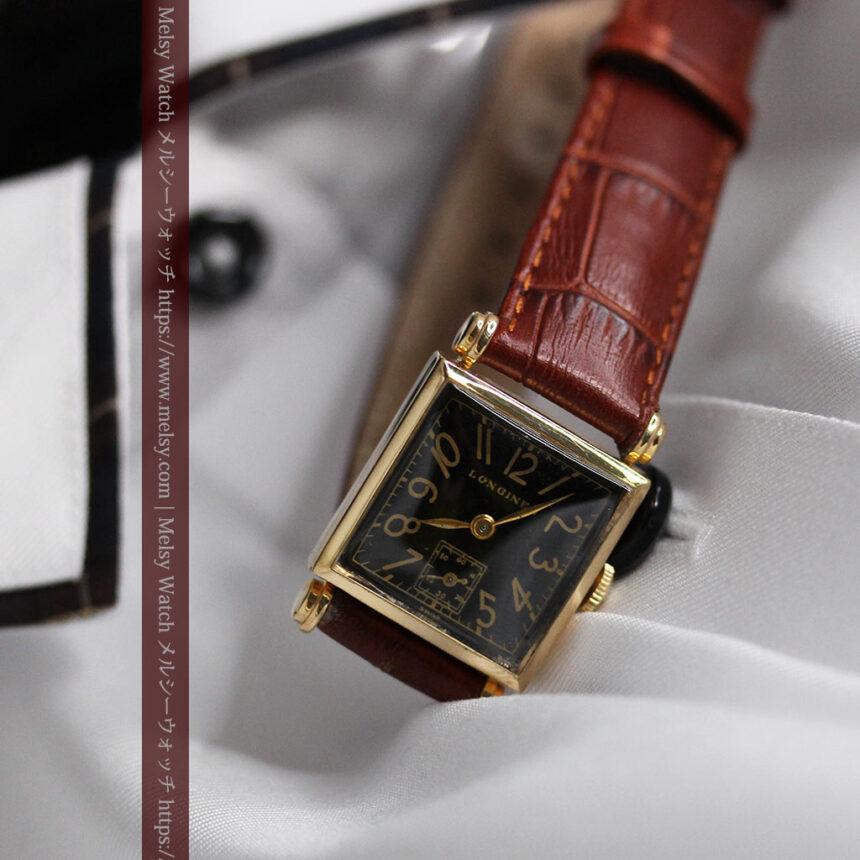 黒文字盤・四角形のロンジン女性用アンティーク腕時計 【1941年製】-W1487-4