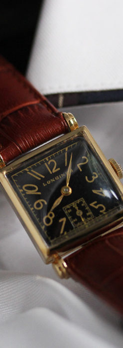黒文字盤・四角形のロンジン女性用アンティーク腕時計 【1941年製】-W1487-5