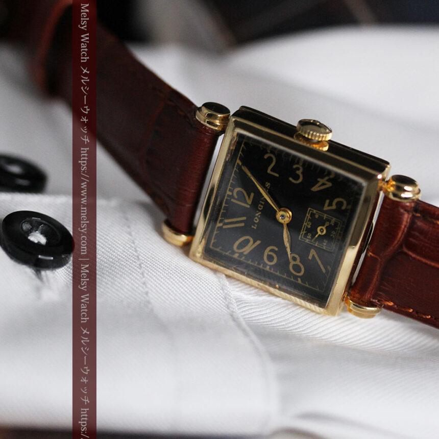 黒文字盤・四角形のロンジン女性用アンティーク腕時計 【1941年製】-W1487-6