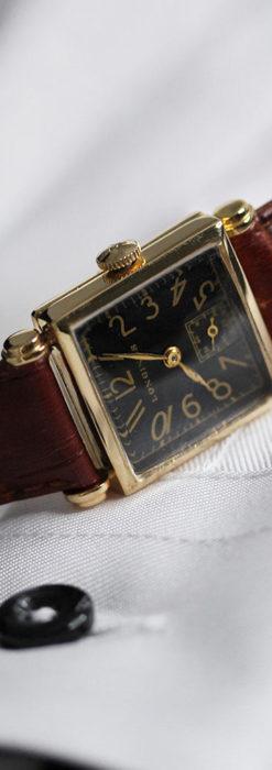 黒文字盤・四角形のロンジン女性用アンティーク腕時計 【1941年製】-W1487-7