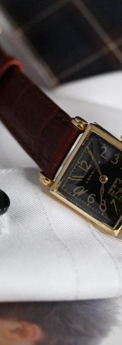 黒文字盤・四角形のロンジン女性用アンティーク腕時計 【1941年製】-W1487-8
