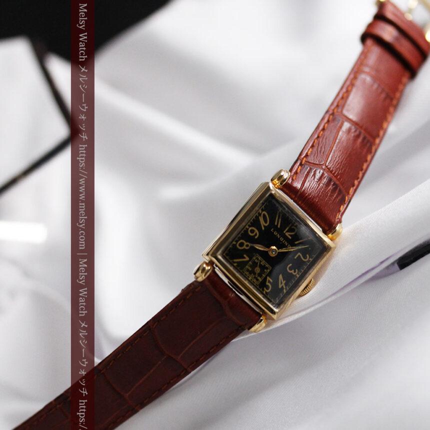 黒文字盤・四角形のロンジン女性用アンティーク腕時計 【1941年製】-W1487-9