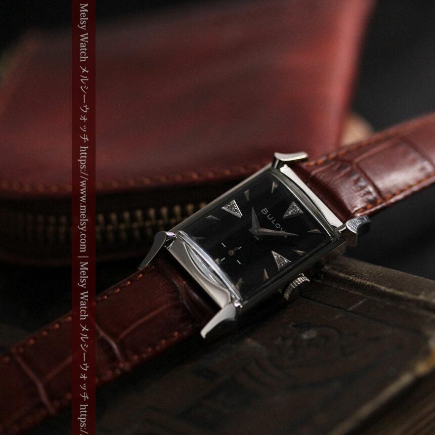 ブローバのダイヤモンドと黒文字盤の上品なアンティーク腕時計 【1958年頃】-W1489-1