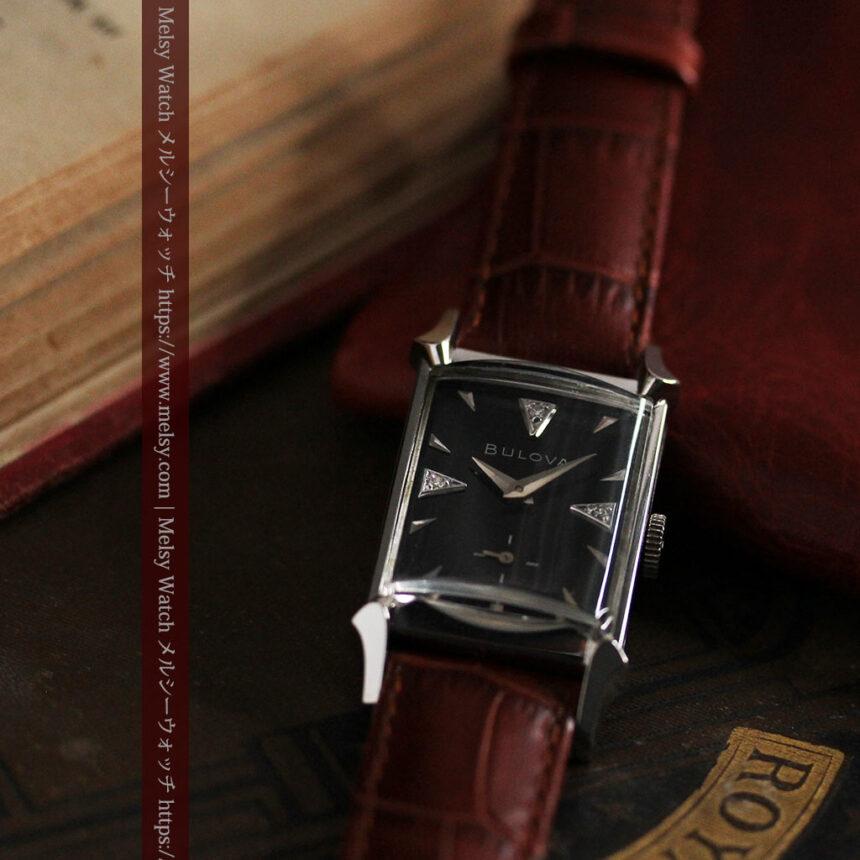 ブローバのダイヤモンドと黒文字盤の上品なアンティーク腕時計 【1958年頃】-W1489-11