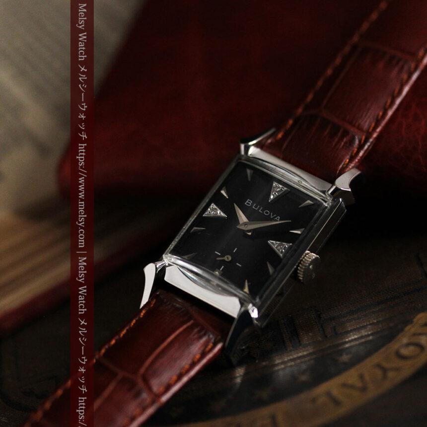ブローバのダイヤモンドと黒文字盤の上品なアンティーク腕時計 【1958年頃】-W1489-12