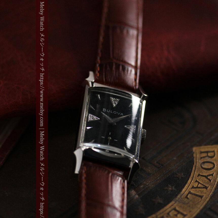 ブローバのダイヤモンドと黒文字盤の上品なアンティーク腕時計 【1958年頃】-W1489-13