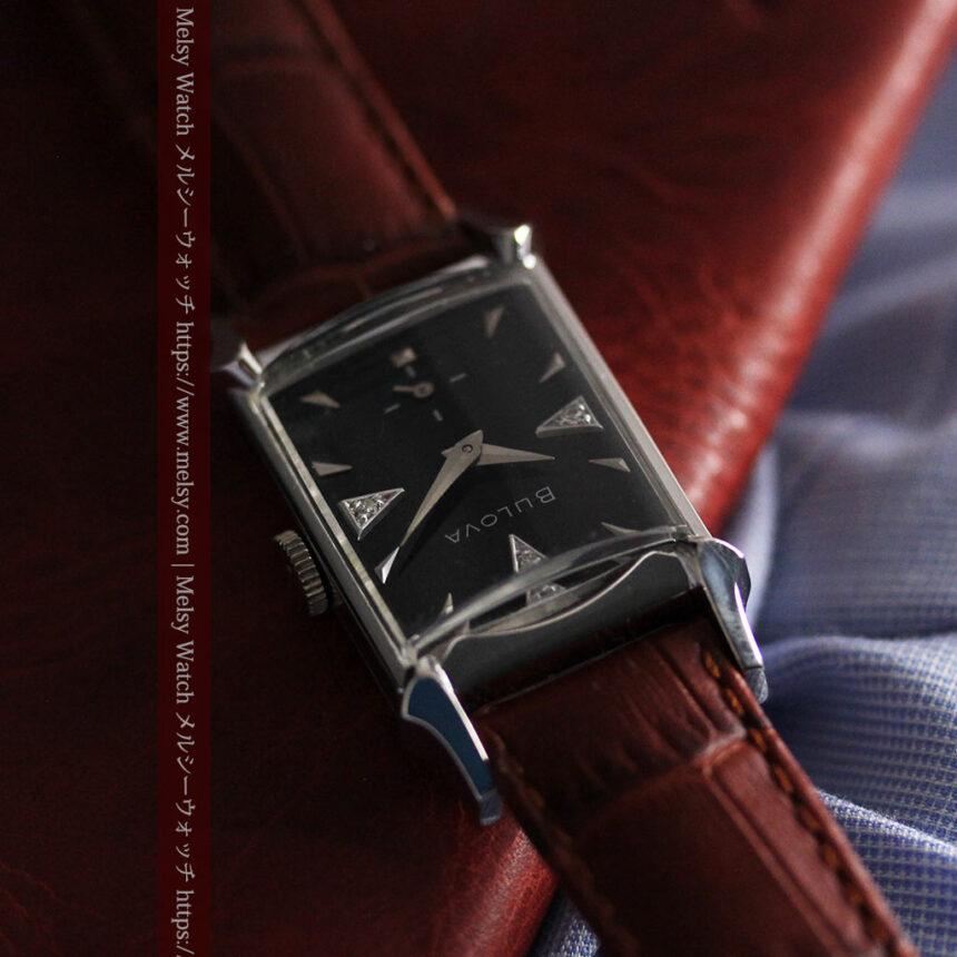 ブローバのダイヤモンドと黒文字盤の上品なアンティーク腕時計 【1958年頃】-W1489-2