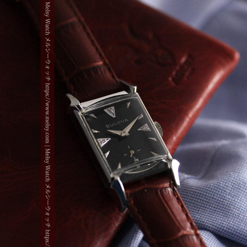 ブローバのダイヤモンドと黒文字盤の上品なアンティーク腕時計 【1958年頃】-W1489-3