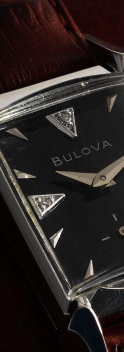 ブローバのダイヤモンドと黒文字盤の上品なアンティーク腕時計 【1958年頃】-W1489-4