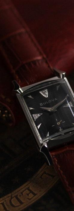 ブローバのダイヤモンドと黒文字盤の上品なアンティーク腕時計 【1958年頃】-W1489-5