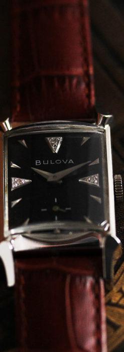 ブローバのダイヤモンドと黒文字盤の上品なアンティーク腕時計 【1958年頃】-W1489-6