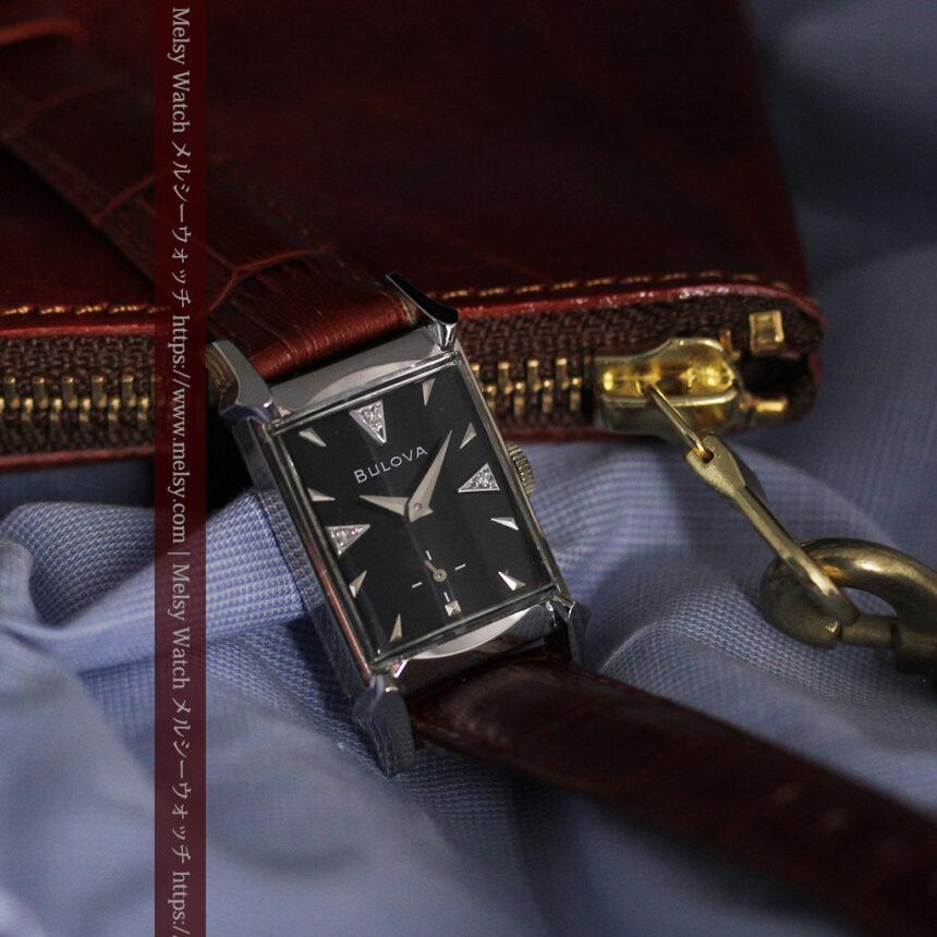 ブローバのダイヤモンドと黒文字盤の上品なアンティーク腕時計 【1958年頃】-W1489-7
