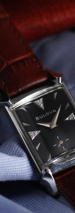ブローバのダイヤモンドと黒文字盤の上品なアンティーク腕時計 【1958年頃】-W1489-8