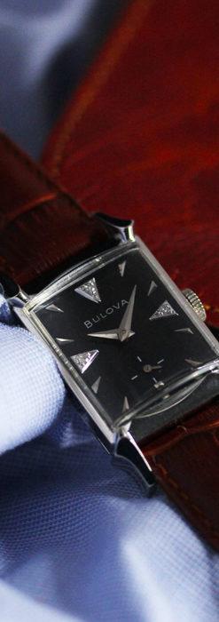 ブローバのダイヤモンドと黒文字盤の上品なアンティーク腕時計 【1958年頃】-W1489-9