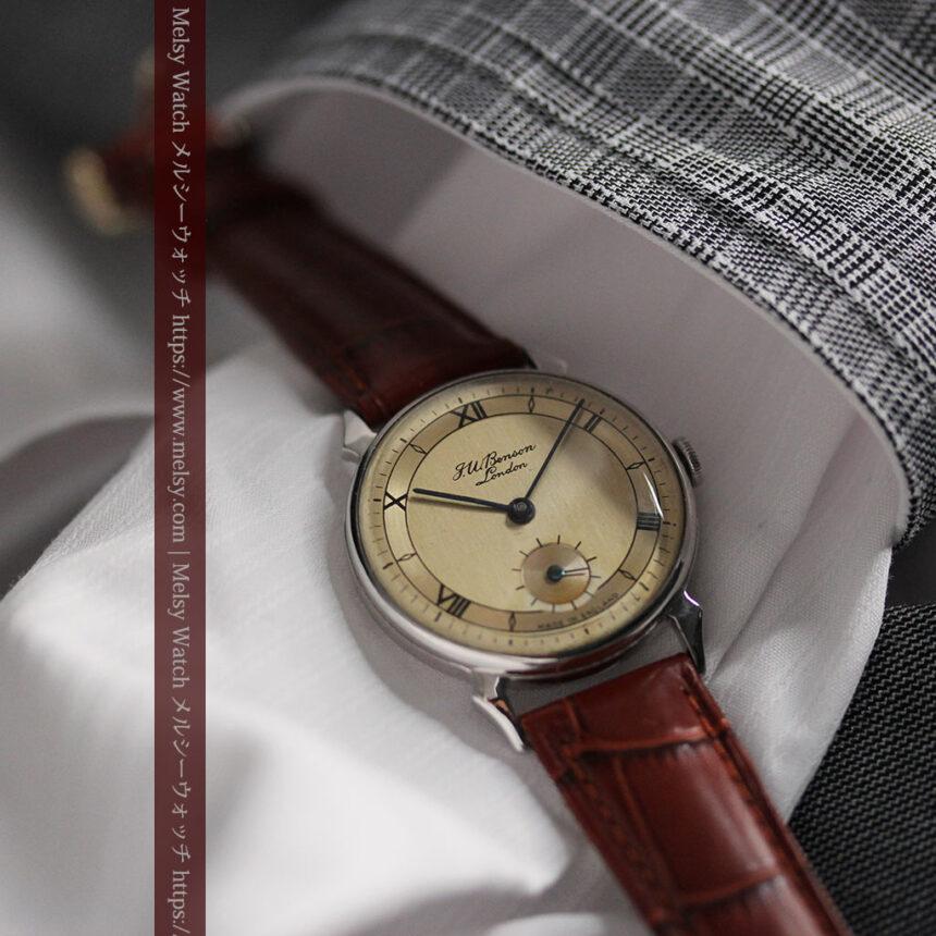 英国ベンソン 渋い深みのあるアンティーク腕時計 【1950年頃】-W1490-1