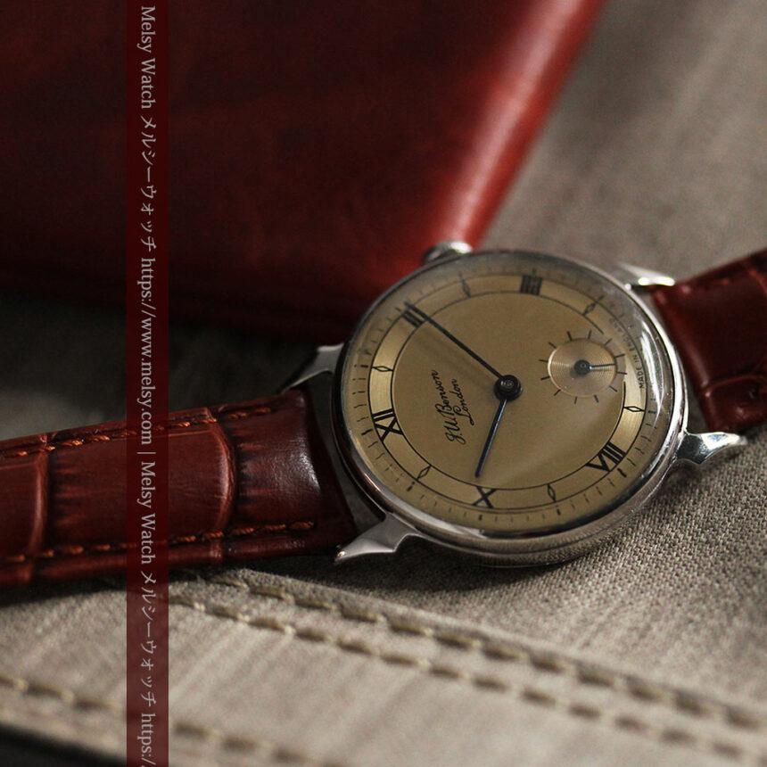 英国ベンソン 渋い深みのあるアンティーク腕時計 【1950年頃】-W1490-11