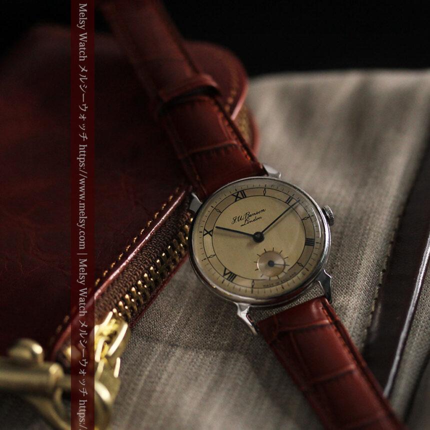 英国ベンソン 渋い深みのあるアンティーク腕時計 【1950年頃】-W1490-3