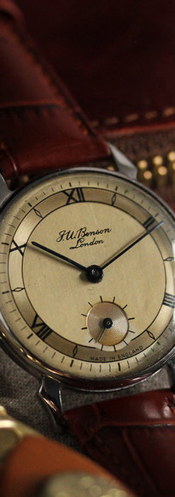 英国ベンソン 渋い深みのあるアンティーク腕時計 【1950年頃】-W1490-7