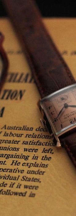 グリュエン 銀のアンティーク腕時計 カーブ&ローズ色 【1940年頃】-W1491-1