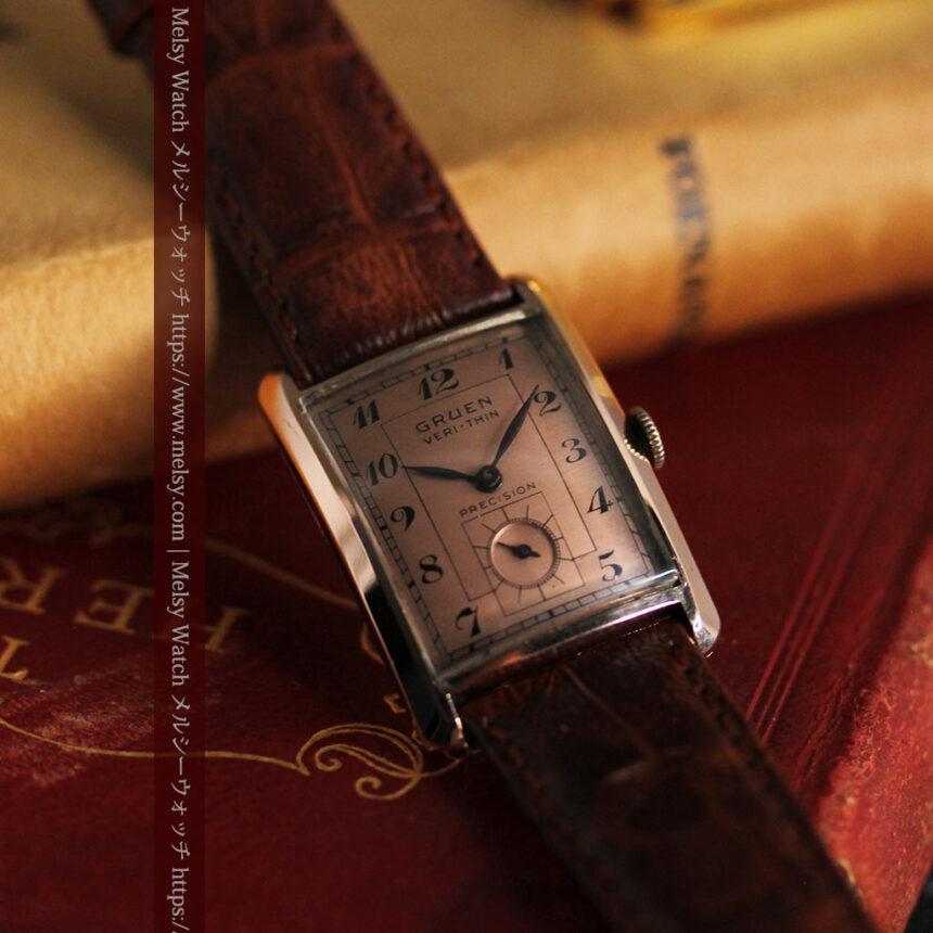 グリュエン 銀のアンティーク腕時計 カーブ&ローズ色 【1940年頃】-W1491-10