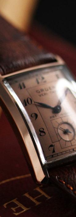 グリュエン 銀のアンティーク腕時計 カーブ&ローズ色 【1940年頃】-W1491-11