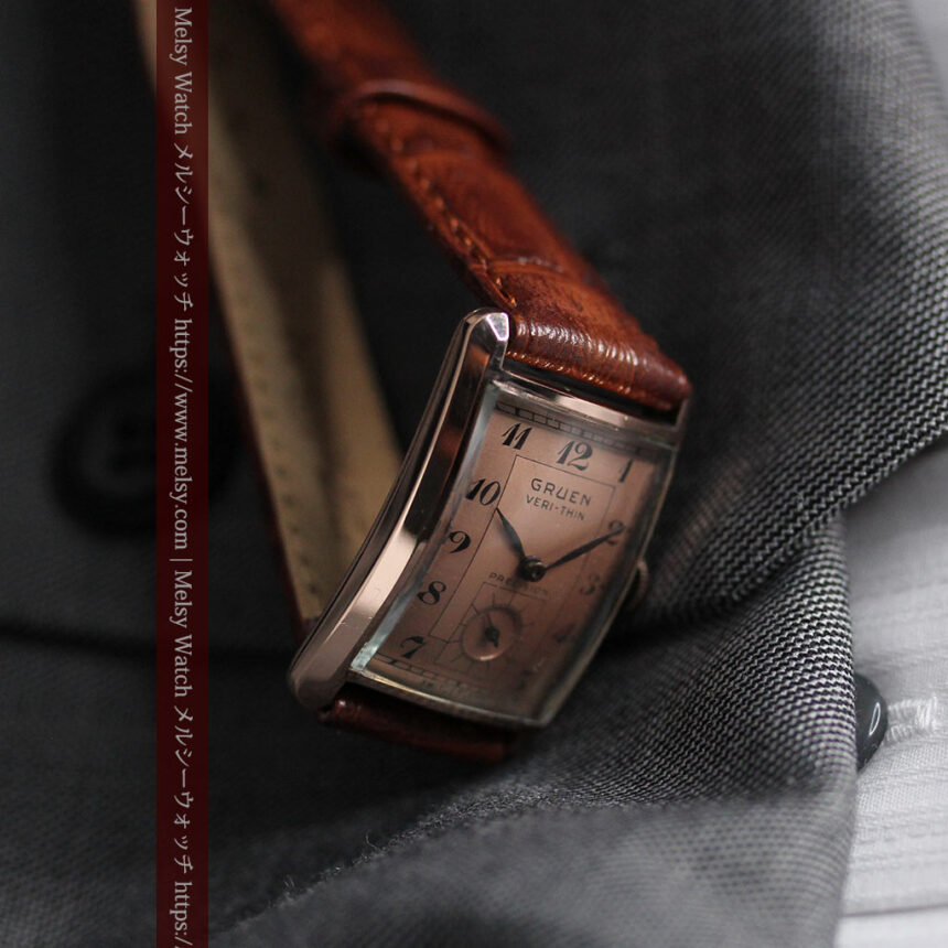 グリュエン 銀のアンティーク腕時計 カーブ&ローズ色 【1940年頃】-W1491-12