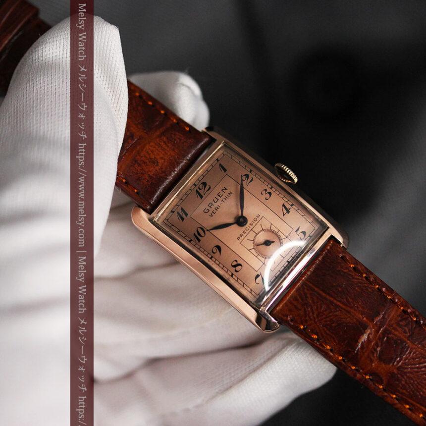 グリュエン 銀のアンティーク腕時計 カーブ&ローズ色 【1940年頃】-W1491-13