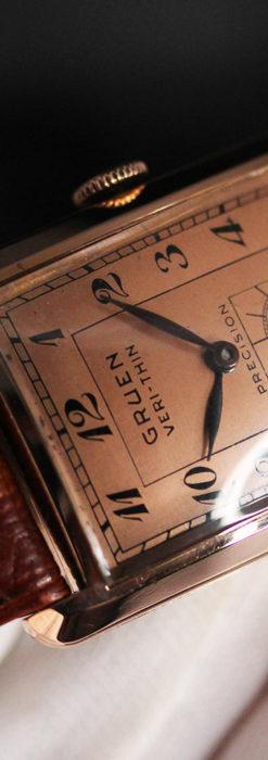 グリュエン 銀のアンティーク腕時計 カーブ&ローズ色 【1940年頃】-W1491-14