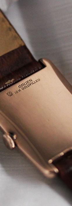 グリュエン 銀のアンティーク腕時計 カーブ&ローズ色 【1940年頃】-W1491-15