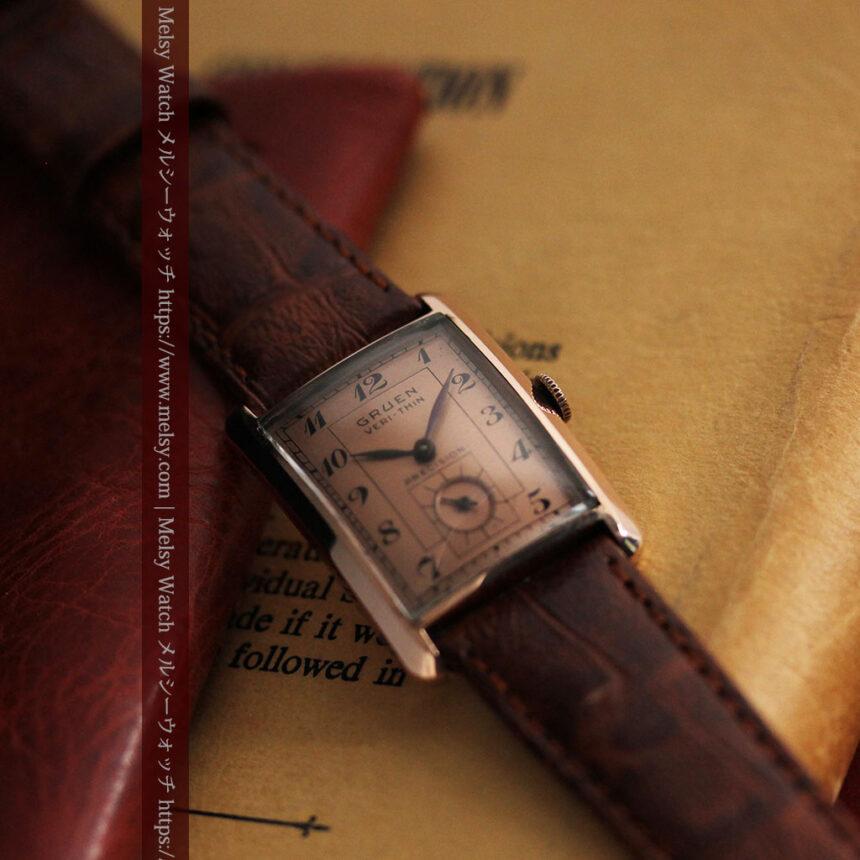 グリュエン 銀のアンティーク腕時計 カーブ&ローズ色 【1940年頃】-W1491-2