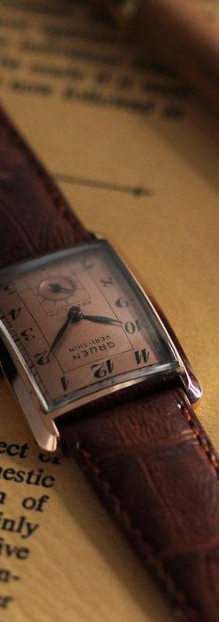 グリュエン 銀のアンティーク腕時計 カーブ&ローズ色 【1940年頃】-W1491-3