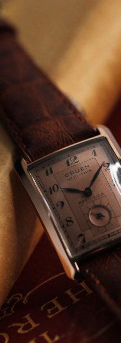 グリュエン 銀のアンティーク腕時計 カーブ&ローズ色 【1940年頃】-W1491-4