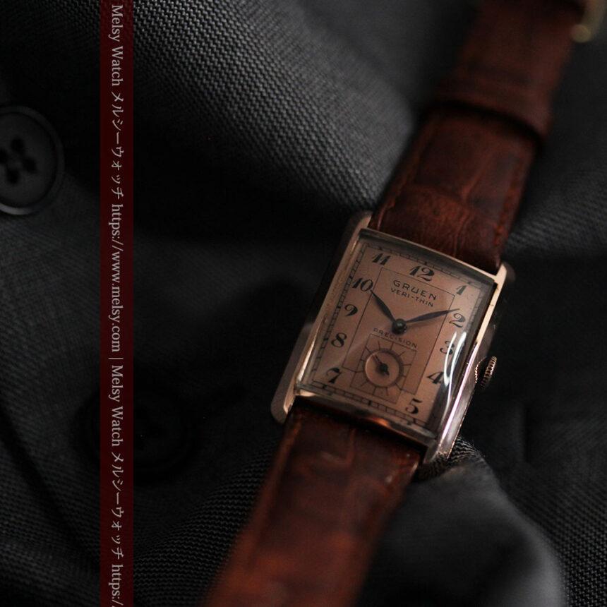 グリュエン 銀のアンティーク腕時計 カーブ&ローズ色 【1940年頃】-W1491-5
