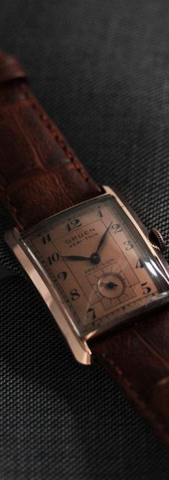 グリュエン 銀のアンティーク腕時計 カーブ&ローズ色 【1940年頃】-W1491-6