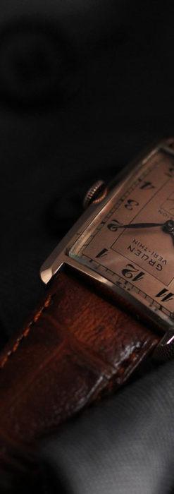 グリュエン 銀のアンティーク腕時計 カーブ&ローズ色 【1940年頃】-W1491-7