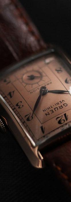 グリュエン 銀のアンティーク腕時計 カーブ&ローズ色 【1940年頃】-W1491-8