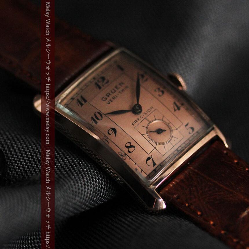 グリュエン 銀のアンティーク腕時計 カーブ&ローズ色 【1940年頃】-W1491-9