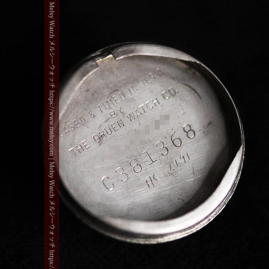 グリュエン 黒文字盤と鋲の個性的な女性用アンティーク腕時計 【1950年頃】-W1492-15