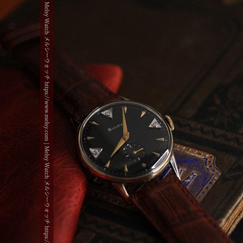 黒と金銀・ダイヤのコントラスト・ブローバのアンティーク腕時計 【1953年製】-W1493-1
