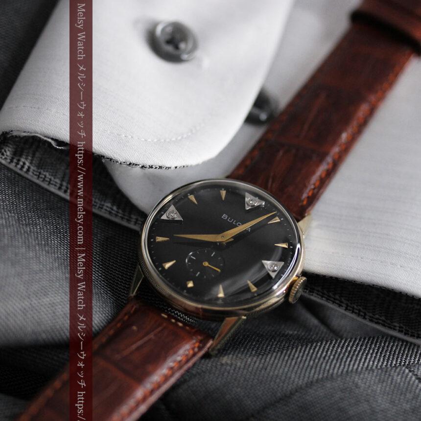 黒と金銀・ダイヤのコントラスト・ブローバのアンティーク腕時計 【1953年製】-W1493-10
