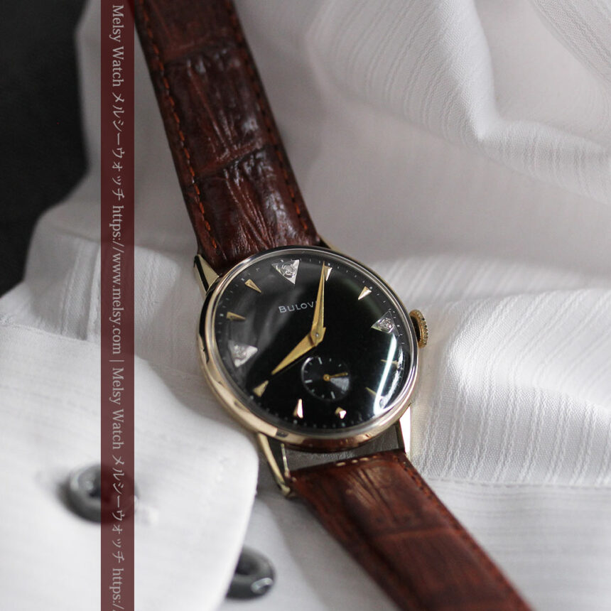 黒と金銀・ダイヤのコントラスト・ブローバのアンティーク腕時計 【1953年製】-W1493-11