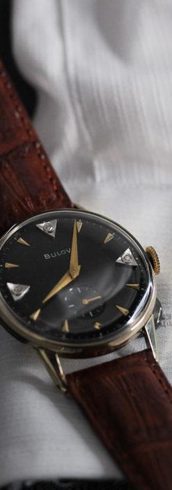 黒と金銀・ダイヤのコントラスト・ブローバのアンティーク腕時計 【1953年製】-W1493-12