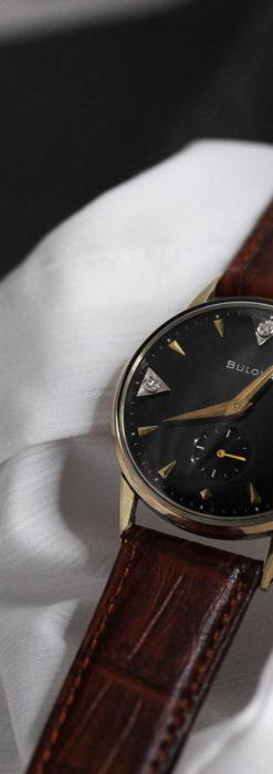 黒と金銀・ダイヤのコントラスト・ブローバのアンティーク腕時計 【1953年製】-W1493-13