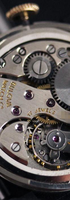 黒と金銀・ダイヤのコントラスト・ブローバのアンティーク腕時計 【1953年製】-W1493-16