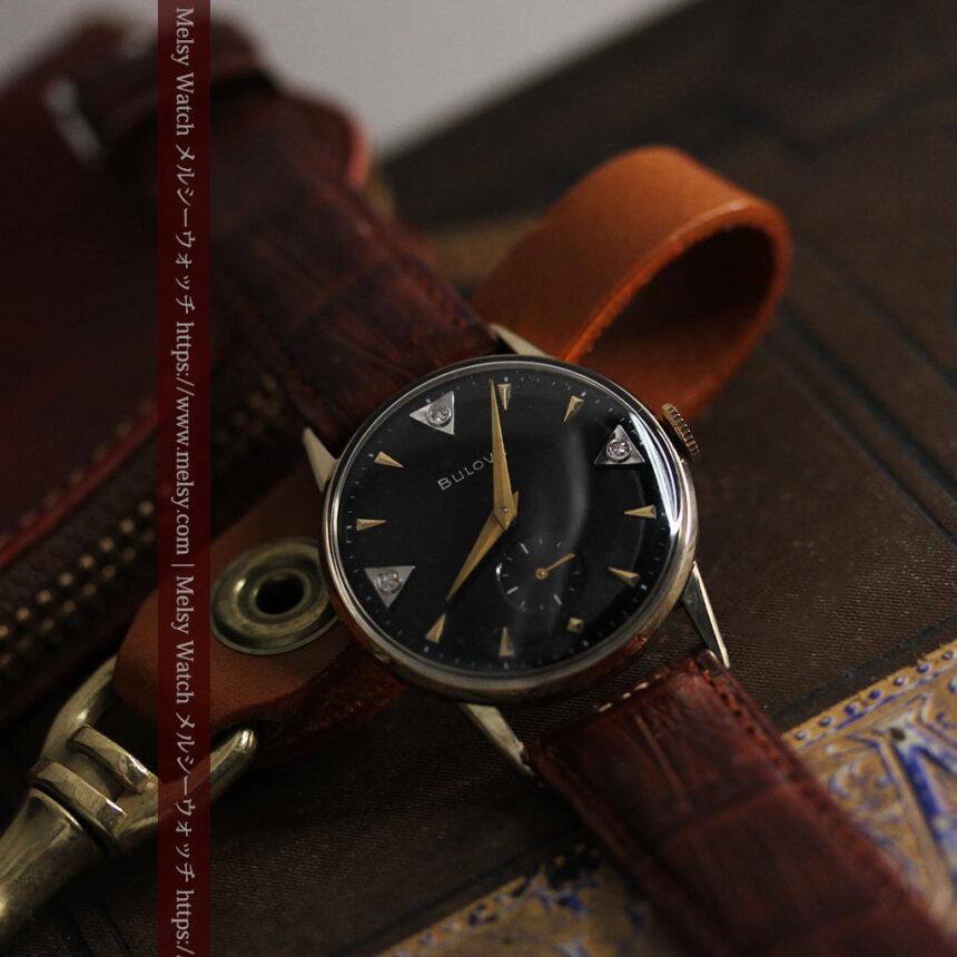 黒と金銀・ダイヤのコントラスト・ブローバのアンティーク腕時計 【1953年製】-W1493-2