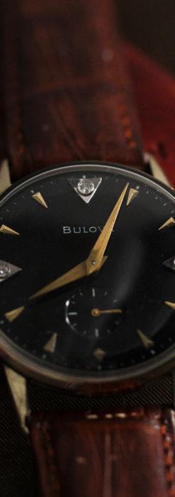 黒と金銀・ダイヤのコントラスト・ブローバのアンティーク腕時計 【1953年製】-W1493-3
