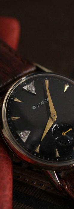 黒と金銀・ダイヤのコントラスト・ブローバのアンティーク腕時計 【1953年製】-W1493-4